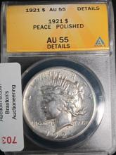 1921 PEACE SIL $ GRADED AU55 DETAILS CLEANED ANACS