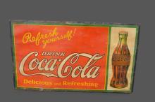 Coca-Cola Sign/ cardboard mounted on wood 36