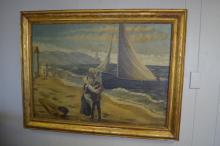 Oil on Canvas- Beach Scene & Sailor's Goodbye 34 1/2