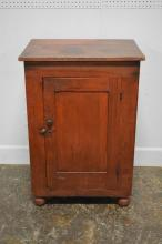 Early Pa. Storage Cupboard in original old red wash finish 40 1/4