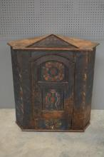 Early Painted Dutch Hanging Corner Cupboard 43