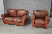 2pc. Lot Vintage Leather Sofa and Love Seat 35
