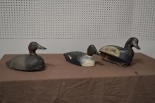 3-Piece Wooden Duck Decoy Lot 7 1/2