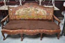 19th C. Louis XV Sofa w/ Needlepoint Tapestry 42 3/4