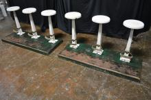 3 Mounted Soda Fountain Stools X2 30 1/4
