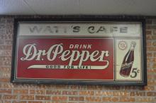 Dr Pepper Sign- Wooden Frame- Tin Watt's Cafe SIZE- 36