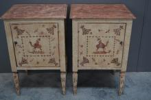 French Side Cabinet w/ Oriental Painted Motif X2  SIZE- 32 1/4