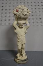 Concrete Garden Statue w/ Fruit Basket  SIZE- 35
