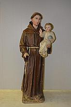 Wood Saint Carved Statue c.19th 40 1/2