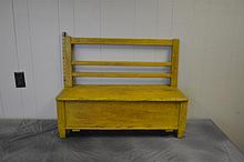 Painted Mustard Amish Childs Bench