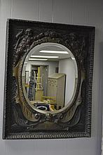 Tin French Mirror with Cherubs 33 3/4