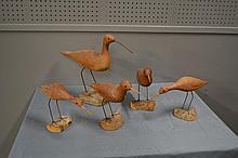 5pc. Lot-  Wooden Shore Birds