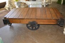 Wooden Industrial Cart