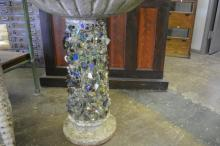 Folk Art Bird Bath with Broken Glass and Marbles