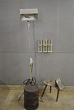9pc. Lot gas can,  stool,  lamp,  6- cages