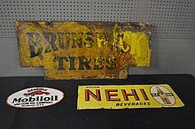 3pc. Sign Lot Brunswick Tires,  Mobil Oil,   Nehi