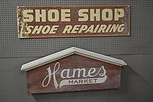 2pc. Sign Lot Hames Market    /    Shoe Shop