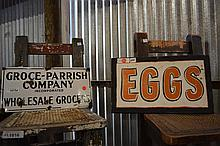 2 Piece Sign Lot- Grocery & Eggs Sign