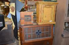 3pc. Lot hanging cupboard, stain glass,  medical cabinet