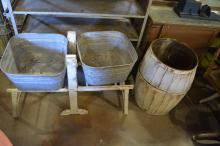 2pc. Lot wash tub w/ bench,  general store barrell
