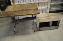 2pc. Lot garden table, crate