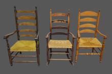 3-Piece Early Chair/Rocker Lot 44 3/4