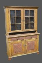 Early 19th Cen. 2-Piece Paint Deco. Dutch Cupboard found in Adams County PA. 79