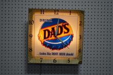 Dad's Root Beer Advertising Clock works 15 3/4