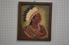 Indian Chief Oil on Canvas 23 1/2