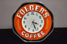 Lighted Advertising Folgers Coffee Clock 18 3/4
