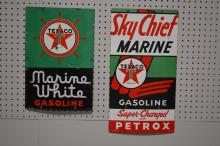 2-Piece Texaco Sign Lot Sky Chief Marine & Marine White Gasoline 22 1/4