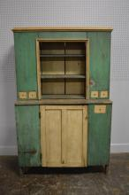 2pc. Painted Stepback Cupboard from Va. 76 1/2