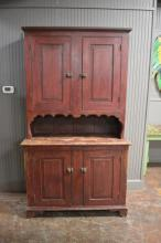 2pc. Painted Pa. Stepback Cupboard 83 1/4