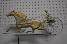 Copper Horse and Sulky Weathervane 60 1/2
