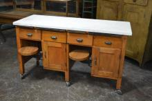 Industrial Work Counter w/ Swing-out Seats