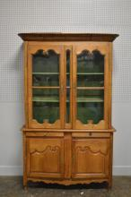 Early 2pc. Country French Cupboard w/ Key 86 3/4