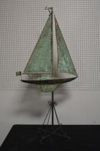 Copper Sailboat Weathervane on Stand 58