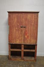 Early Mid-Western Cupboard in old red painted surface 81