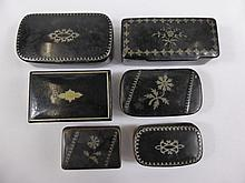 Miscellaneous Antique Silver Inlaid Snuff Boxes of various sizes, approx 6.