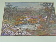 A Vintage Needlework Tapestry, depicting a wooded