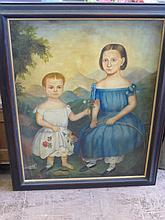 An Oil on Canvas, depicting a mother and child, ap