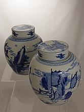 A Pair of Chinese Blue and White Ginger Jars with