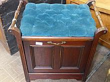 An Edwardian Mahogany Piano Stool, with music fold