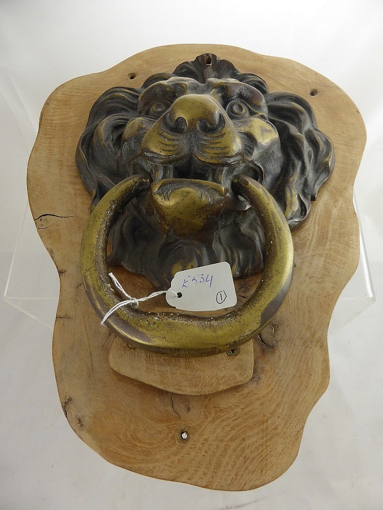 A large antique brass lion head door knocker moun - Large lion head door knocker ...