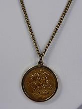 A Lady's 9ct Gold Necklace, with a Crown Victoria
