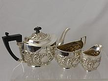 A Silver Bachelor Tea Trio, comprising teapot, sug