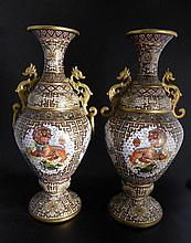 Pair of Outstanding 20th Century Cloisonné Vases,