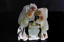 Chinese Antique Celadon and Amber Jade Figure of