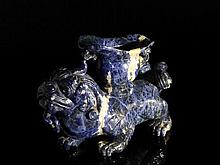 Chinese Lapis Lazuli Figure of a Guardian Lion,