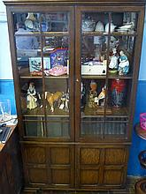An Edwardian Oak Glass Fronted Display Cabinet, t